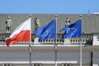 polish eu and nato flags. poland may 2007